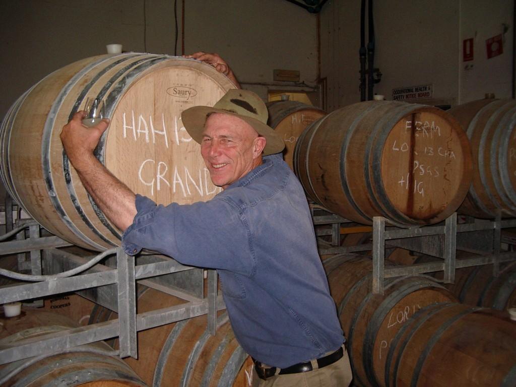 Larry and Gruner Veltliner barrel.